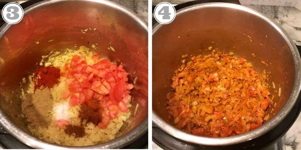 Adding tomatoes and spices to onions in Instant Pot