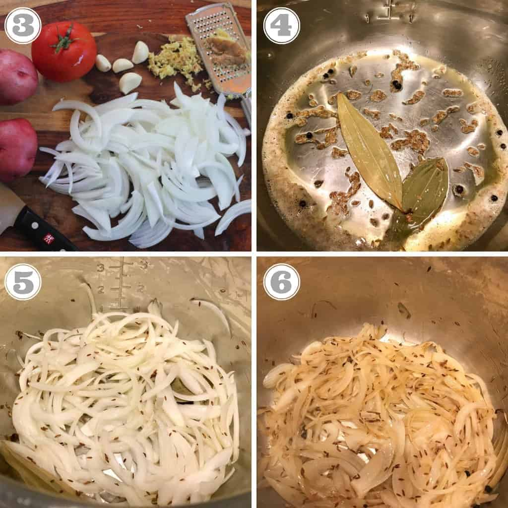steps showing roasting spice and sauteing onion in Instant Pot
