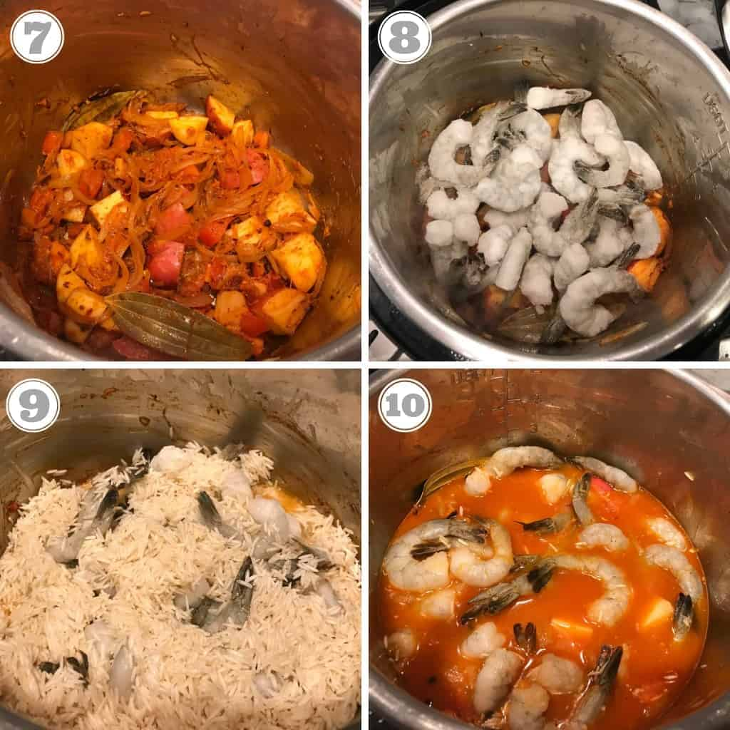 steps showing adding spices, shrimp, rice and water to Instant Pot