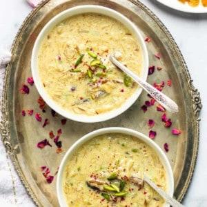 Sheer Khurma in 2 white bowls
