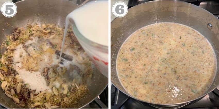 steps showing adding milk to sheer khurma