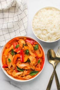 Thai red curry chicken with steamed rice