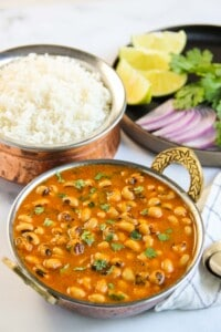Black eyed peas curry with roti and rice