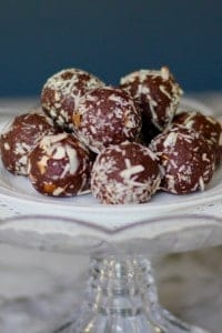quinoa truffles on a cake stand