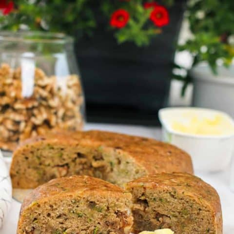 zucchini bread slices with butter