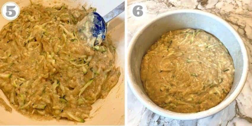 steps five through six showing putting batter in cake pan