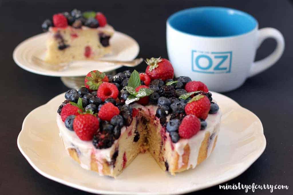 summer berry cake in a white platter