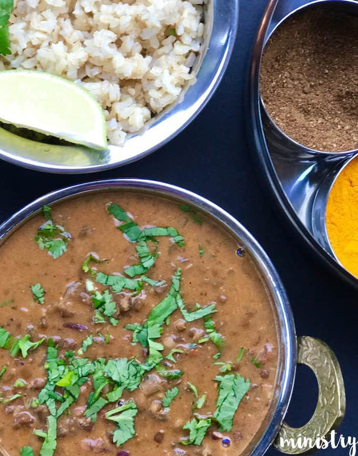 Madras Lentils/Daal Makhani with Brown Rice – Instant Pot