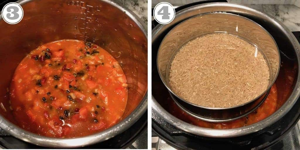 steps showing adding water to lentils and rice in pot to Instant Pot