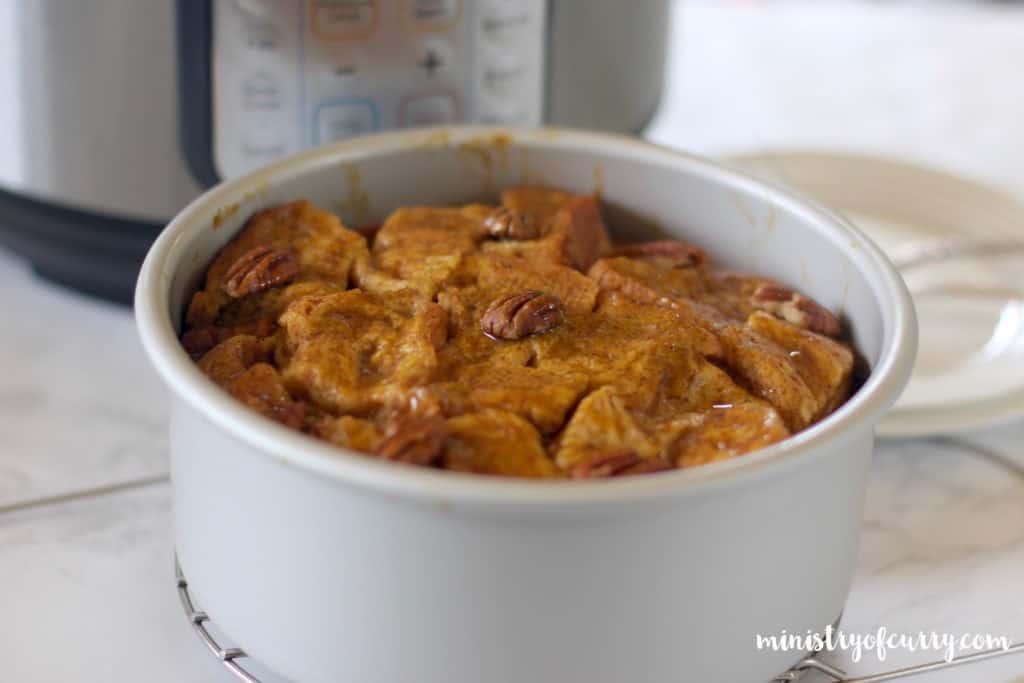 pumpkin bread pudding in a  cake pan