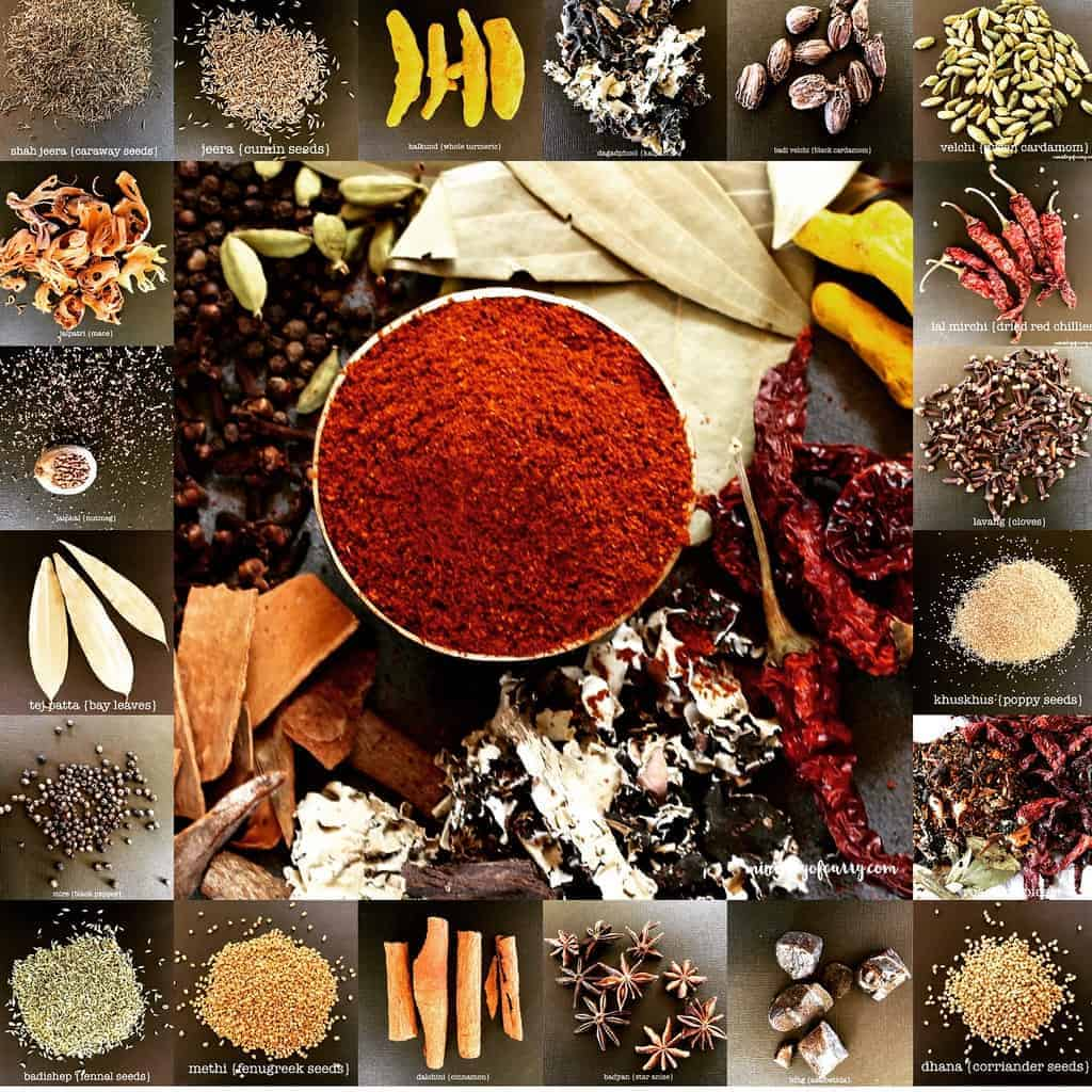 collage of spices along with garam masala