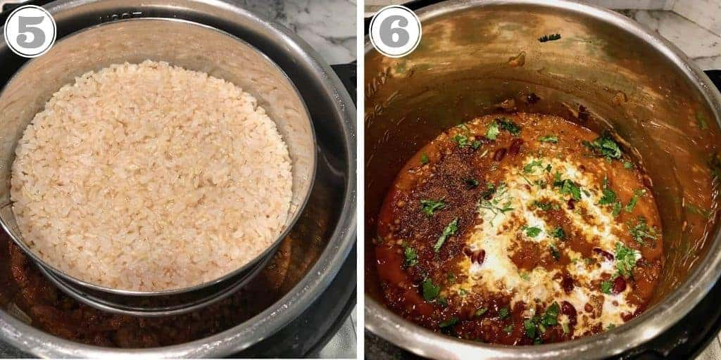 pictures showing cooked rice in pot and madras lentils in Instant Pot
