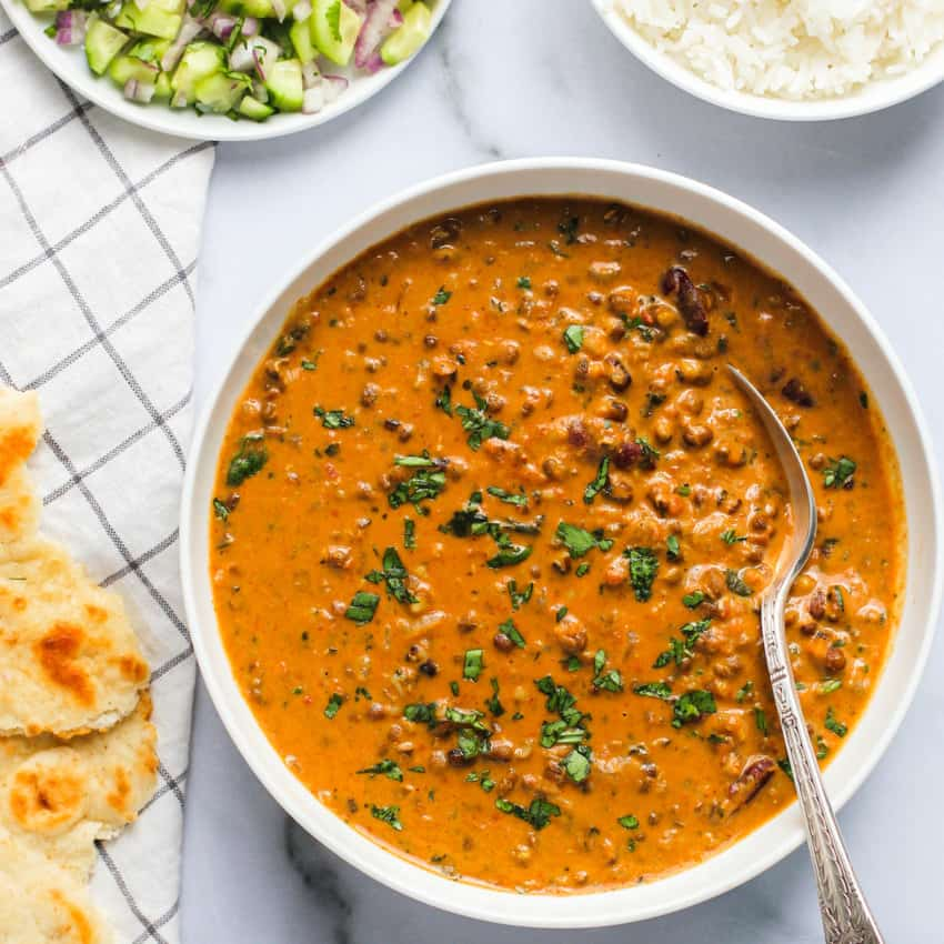 daal makhani in a white bowl