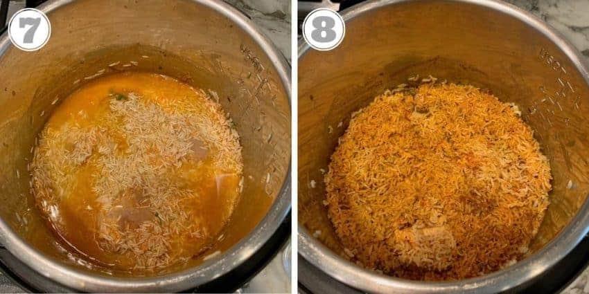 steps seven and eight of making biryani