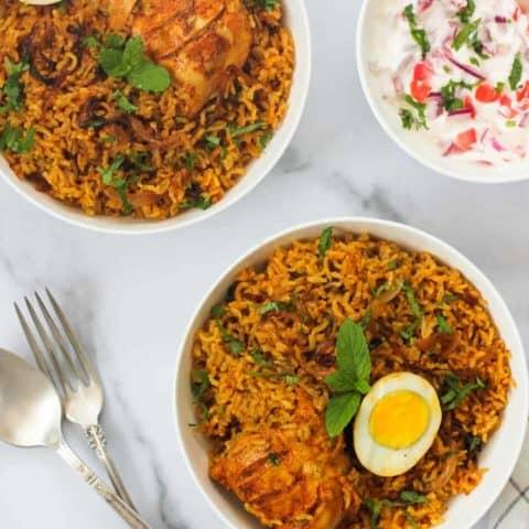brown rice chicken biryani