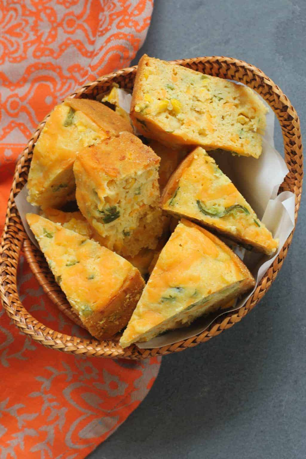 Jalapeño Cheddar Cornbread - A perfect combination of sweet and savory, this buttery, cheesy cornbread is packed with the flavors and earthy aromas of fresh corn and peppers.