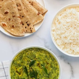 Dill Lentils served with rice and rotis