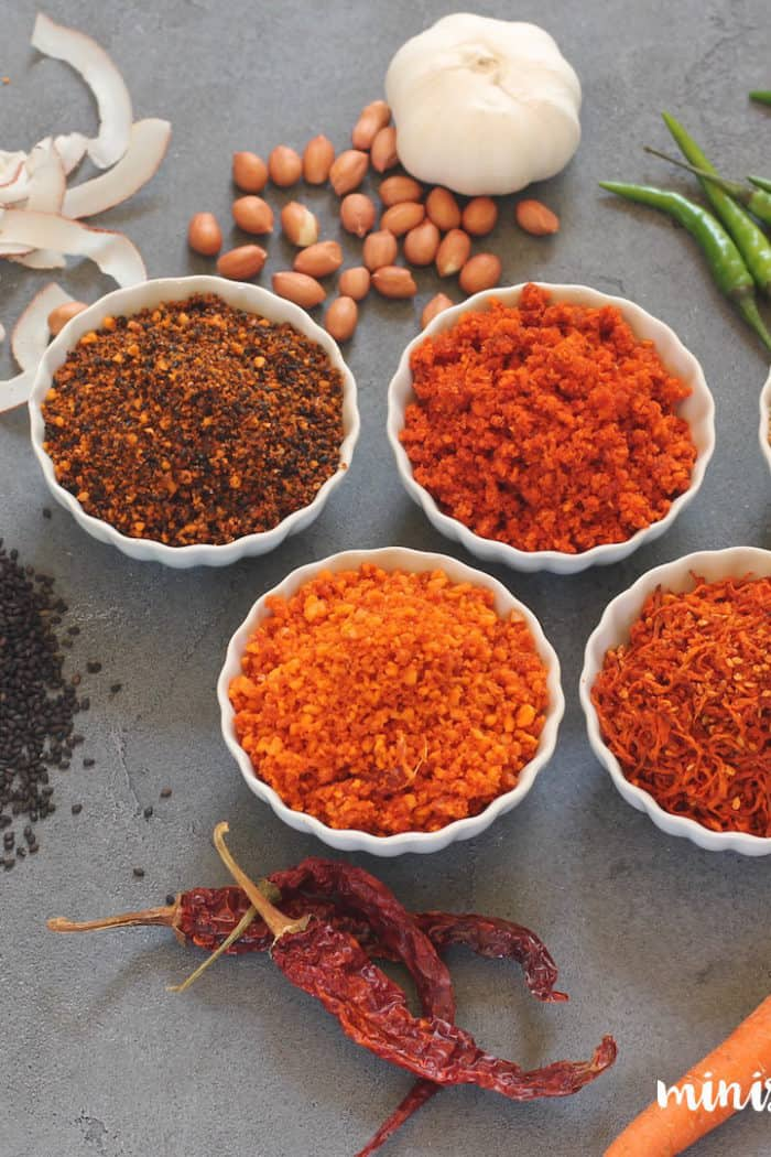 Five dry chutney's including an exclusive carrot chutney