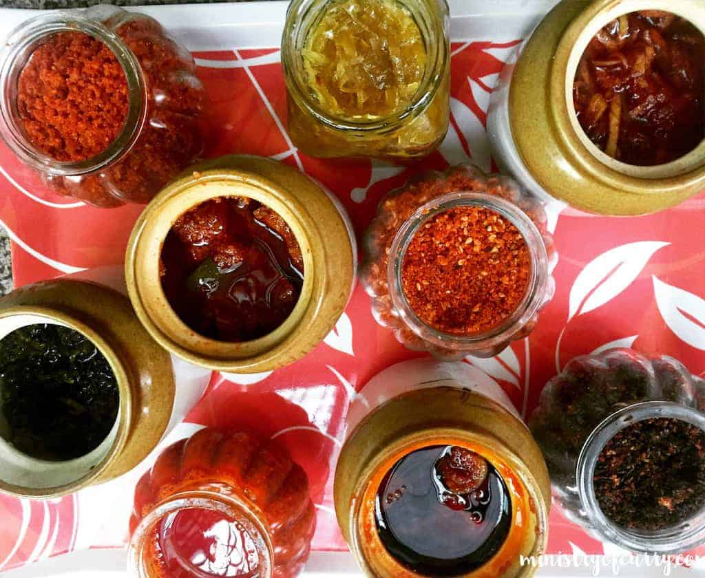 pickles and chutney in containers