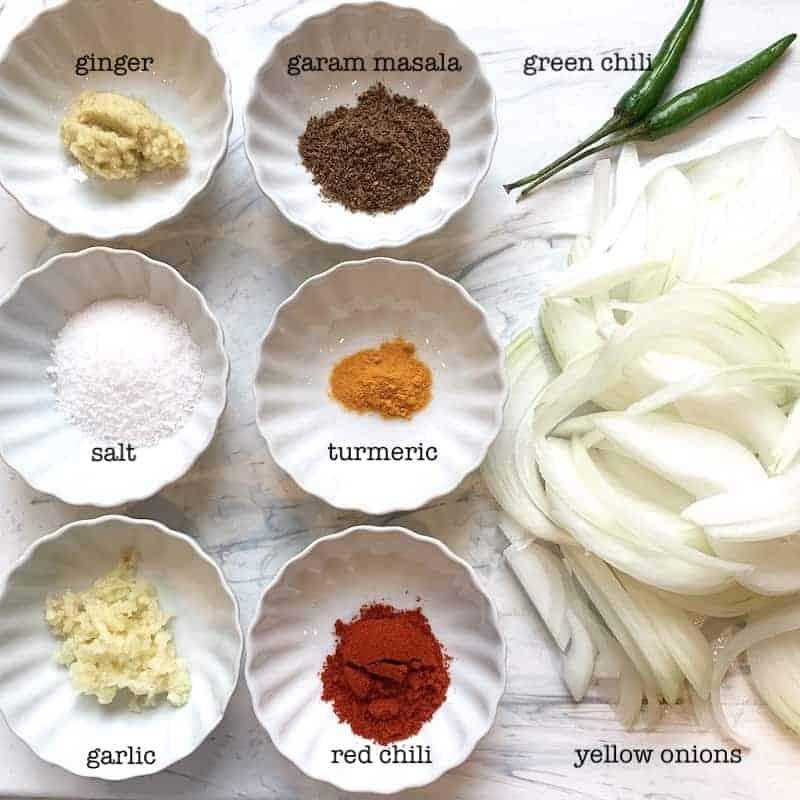 ingredients for chickpea biryani