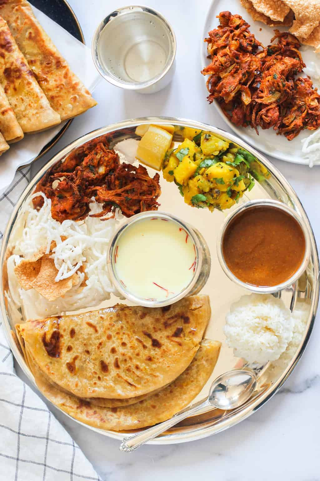 Traditional Thali with Puran Poli and sides