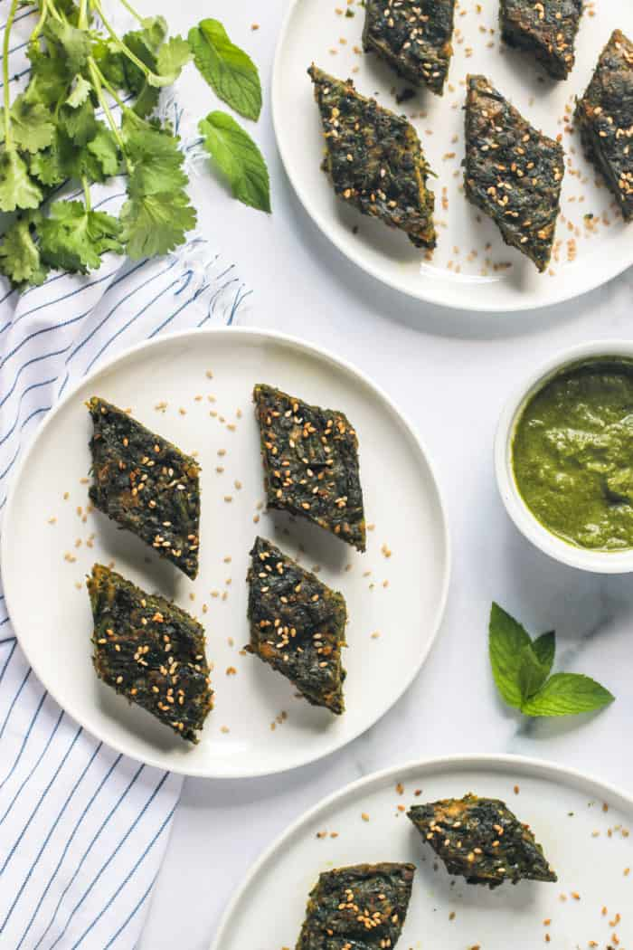 Kothimbir Vadi {Spicy Cilantro Cake}  – Instant Pot