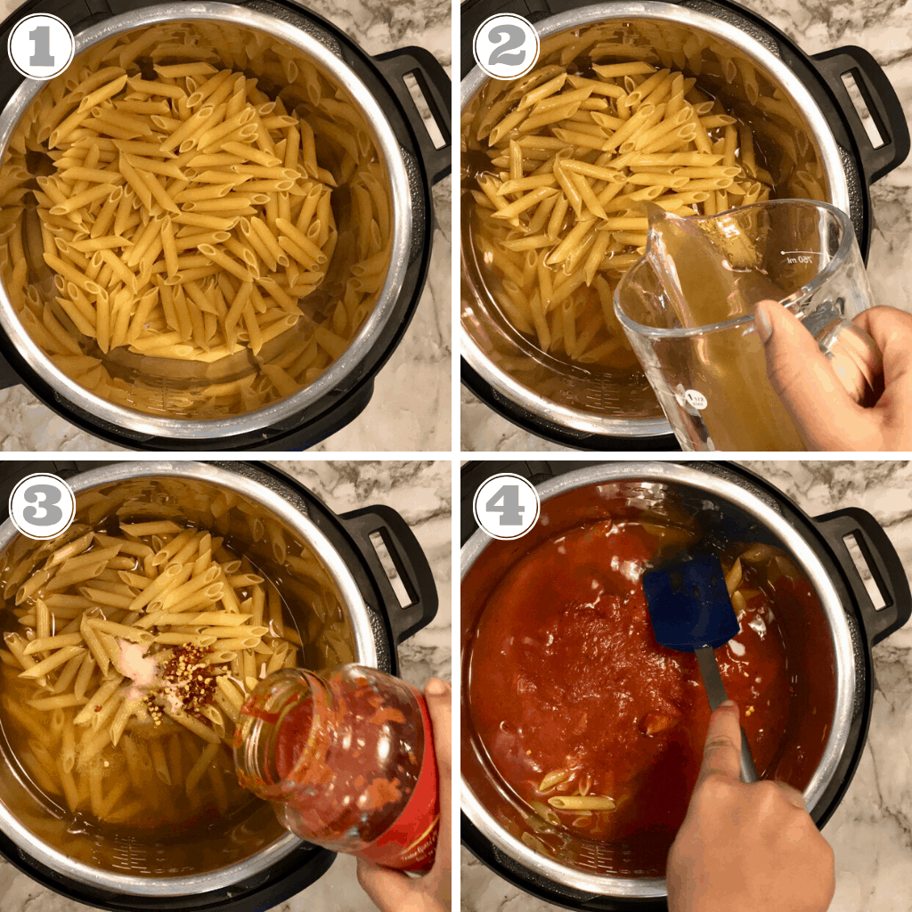 Steps showing how to cook pasta in Instant Pot