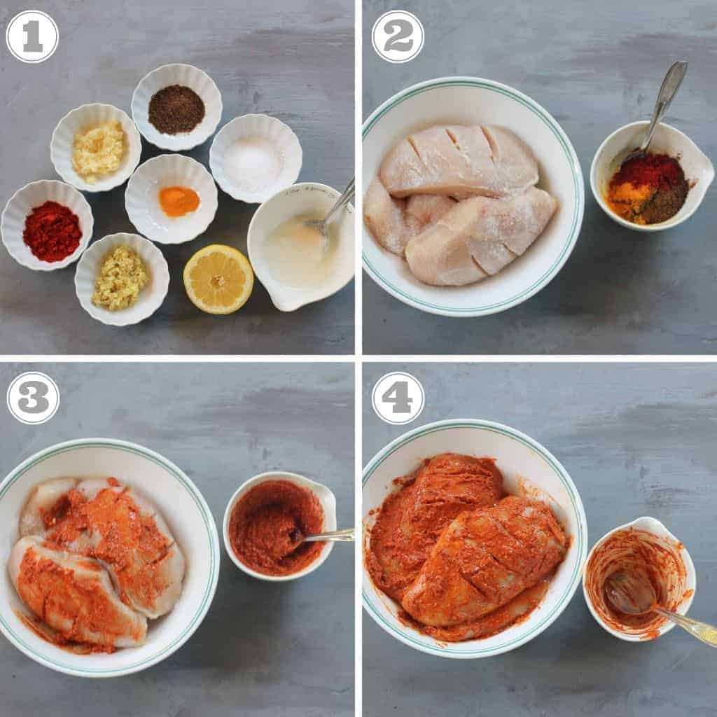 steps showing how to make Chicken Tandoori marinade