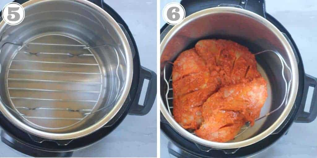 trivet with marinated tandoori chicken in Instant Pot