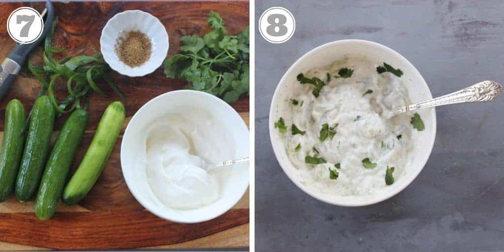 steps showing how to make cucumber raita