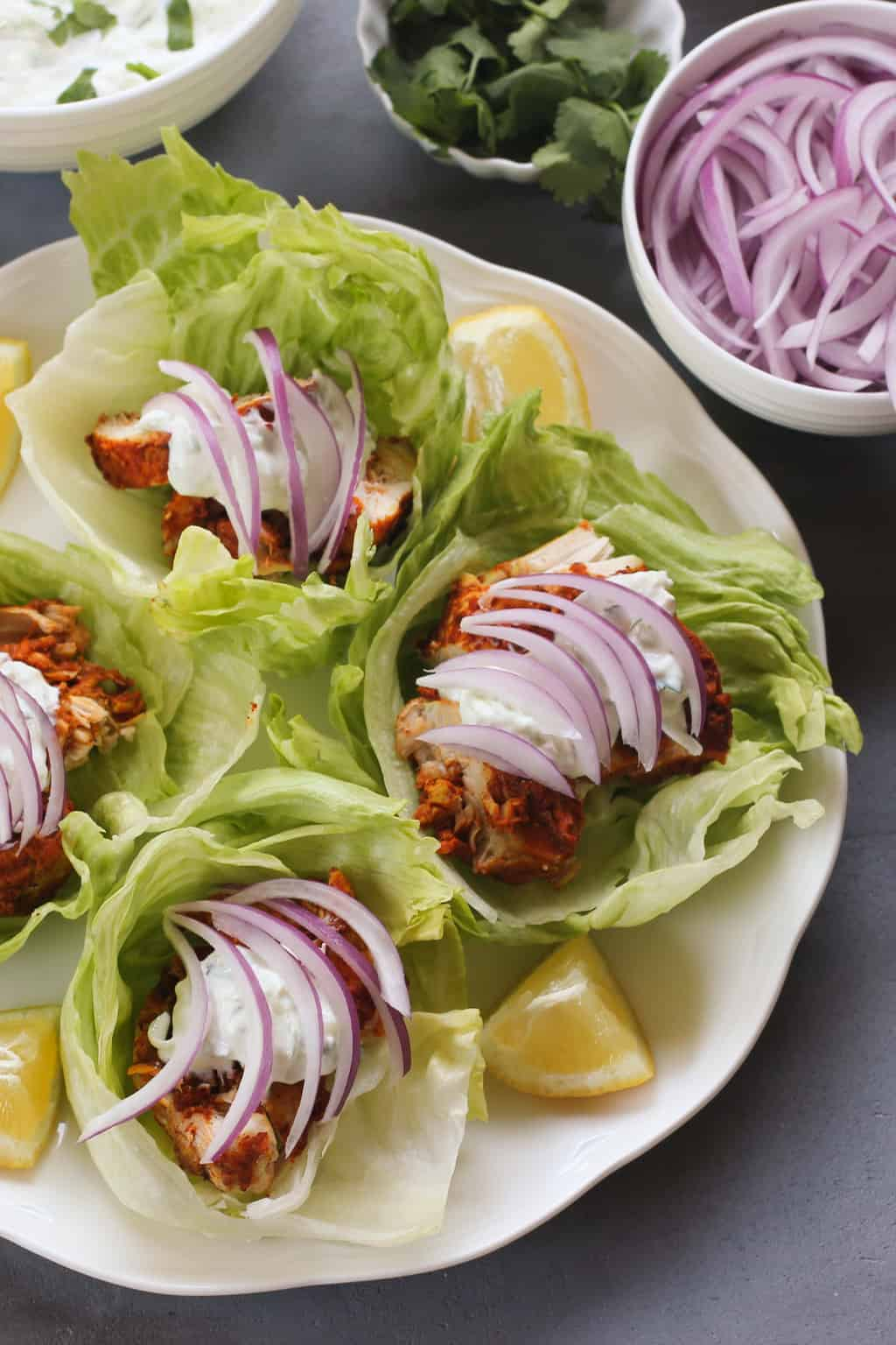 Tandoori Chicken Lettuce Wraps on white platter