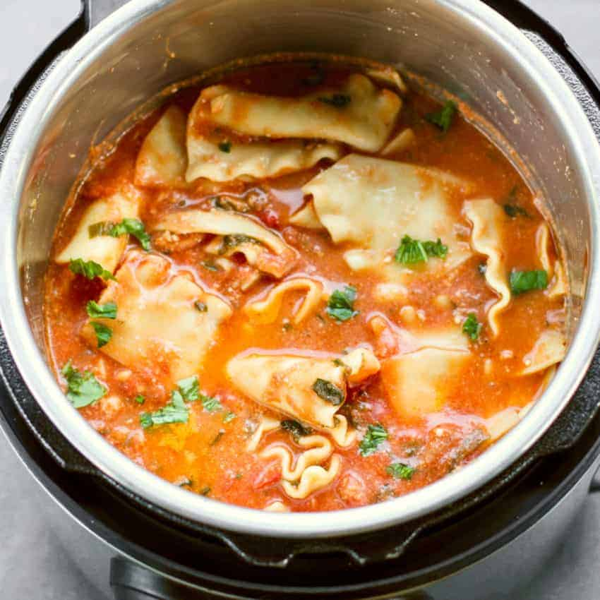Cooked lasagana soup in the Instant Pot