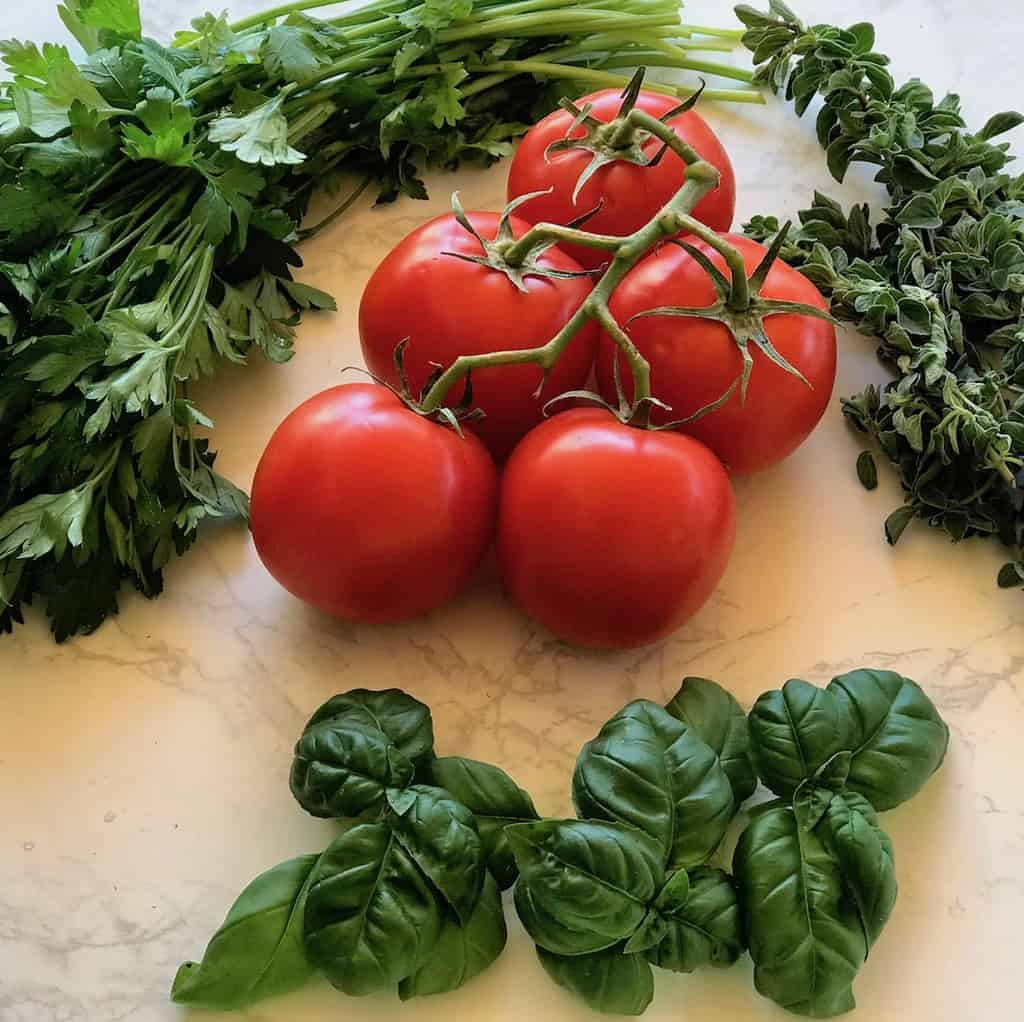 tomatoes, basil, oregano and parsley