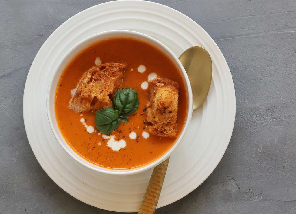 Creamy Tomato Bisque in a white bowl