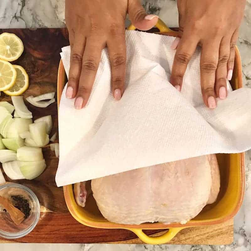 Pat dry chicken with paper towels