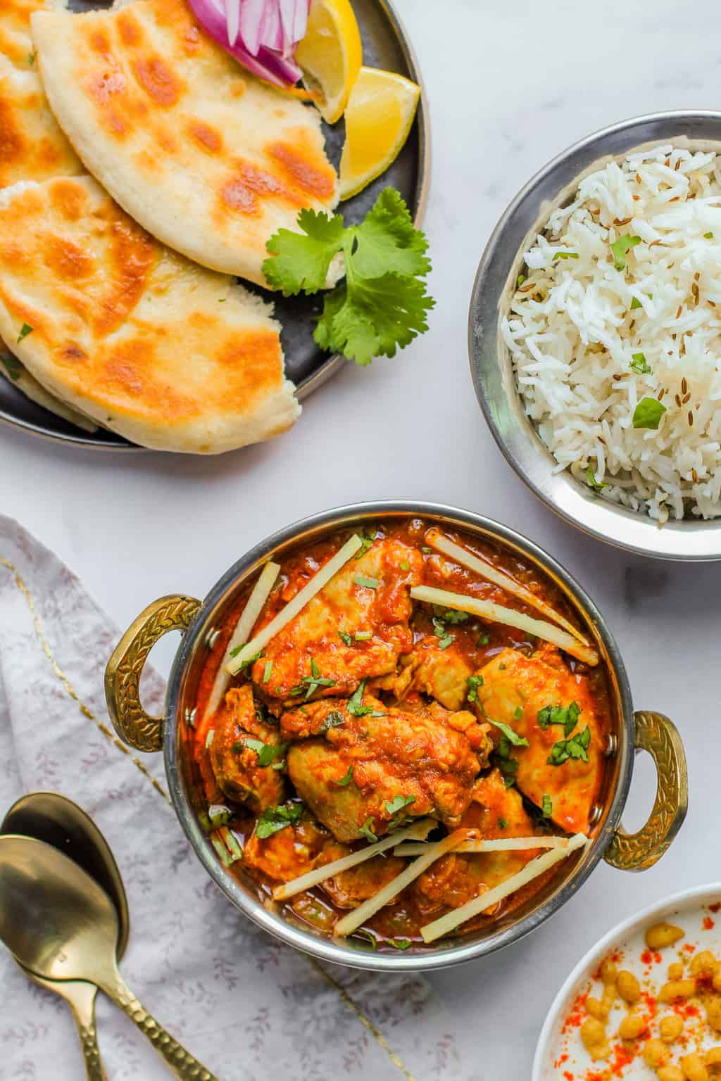 chicken Karahi with rice and naan