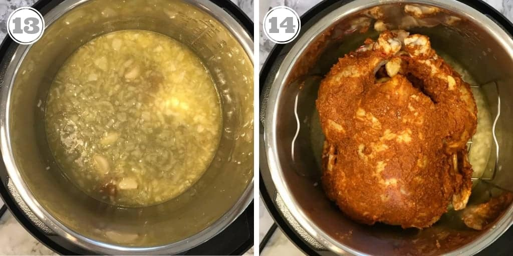 steps showing onions, chicken broth and placing whole chicken in Instant Pot