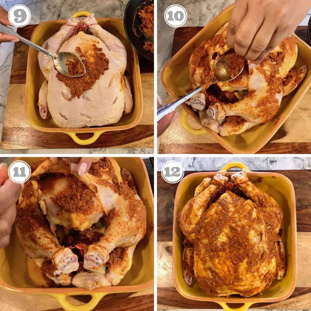 steps showing how to spread marinade evenly over chicken