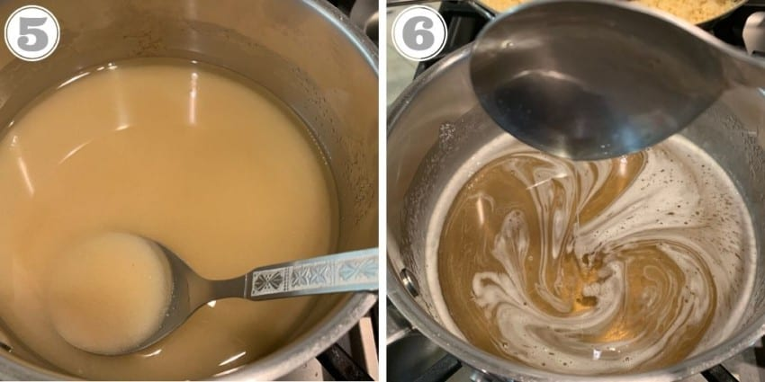 steps five and six showing how to make sugar syrup