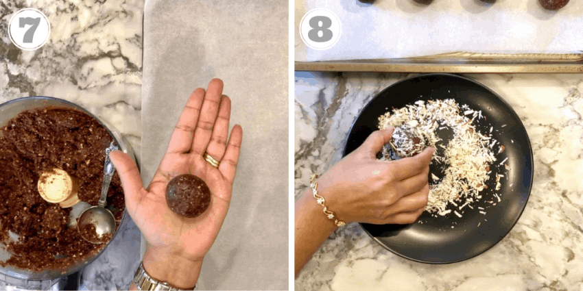 2 Photos showing quinoa truffles being rolled and coated in chopped almonds