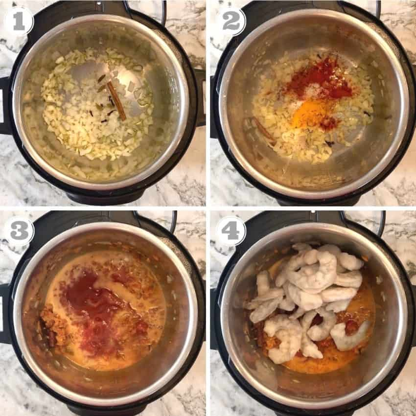 steps 1 through 4 on how to cook shrimp curry in Instant Pot