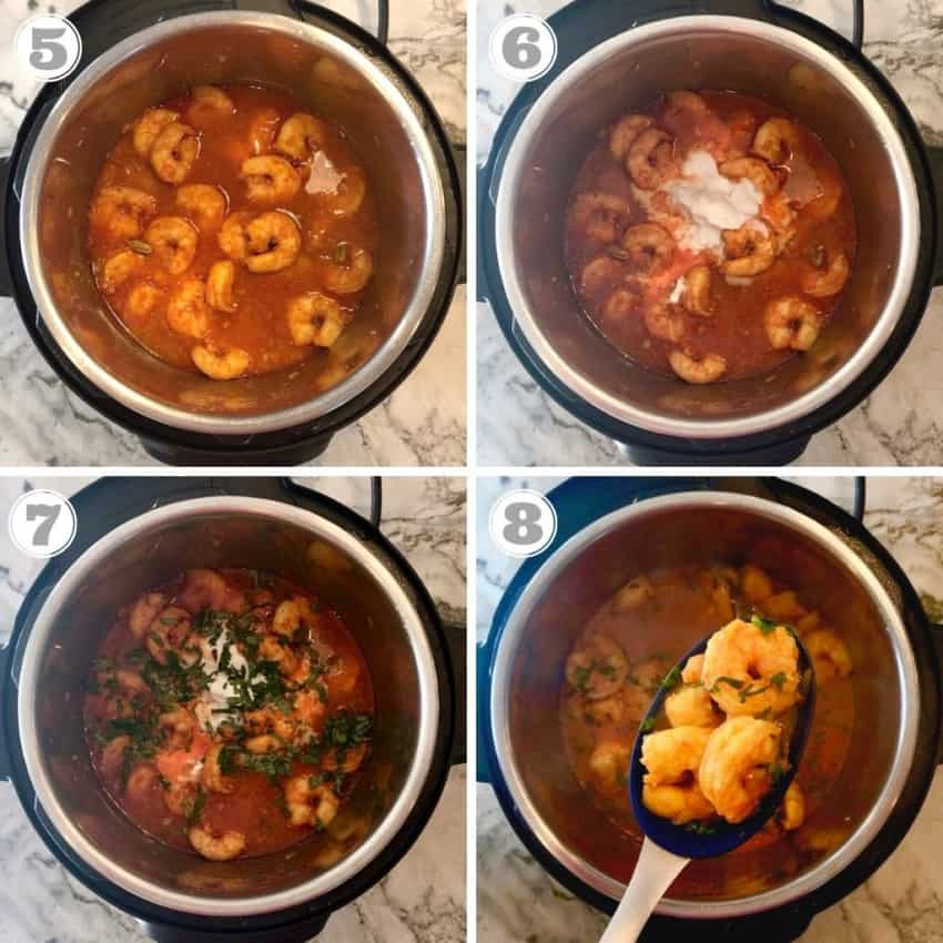 steps 5 through 8 showing how to cook curry in Instant Pot