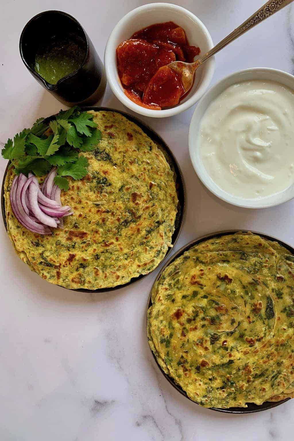 Kale Potato Paratha with yogurt and pickle on the side