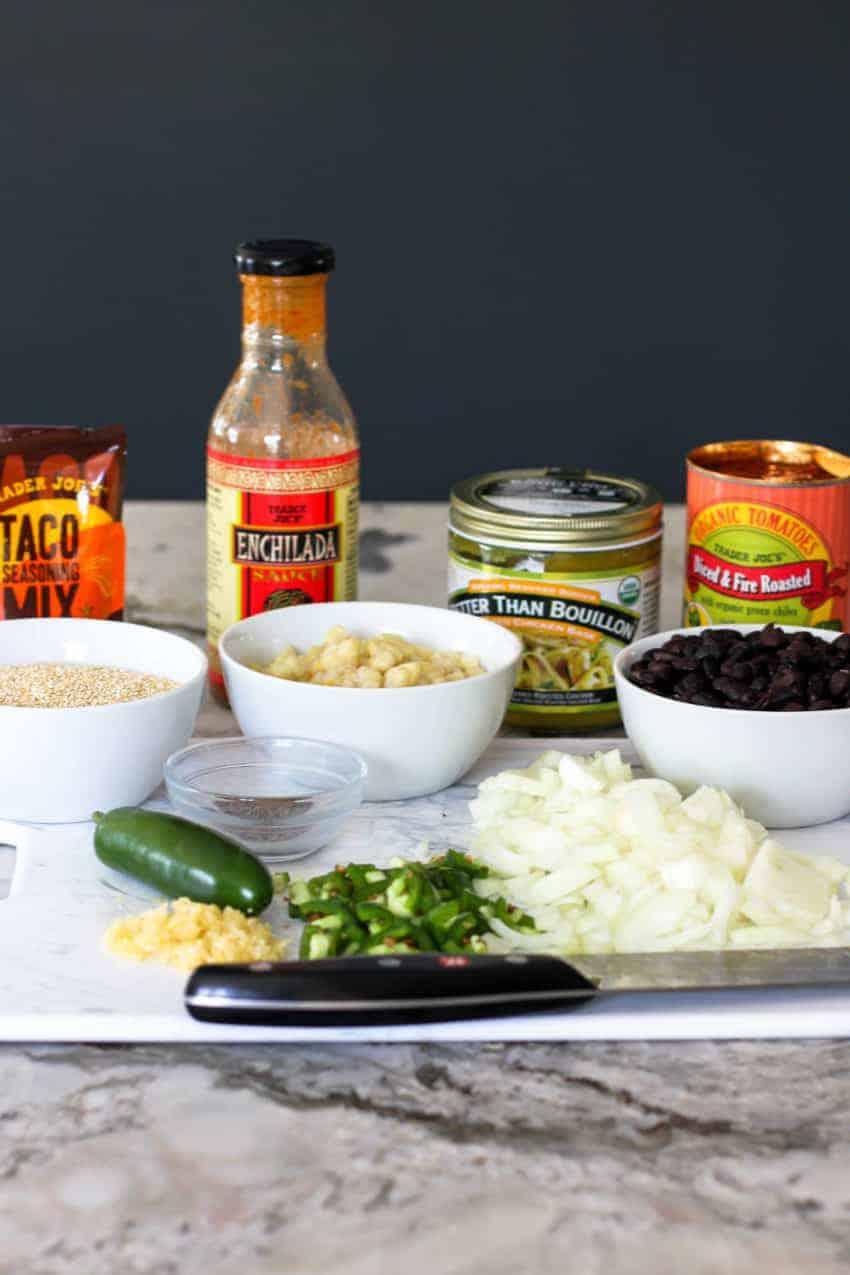 Ingredients to make chicken enchilada quinoa