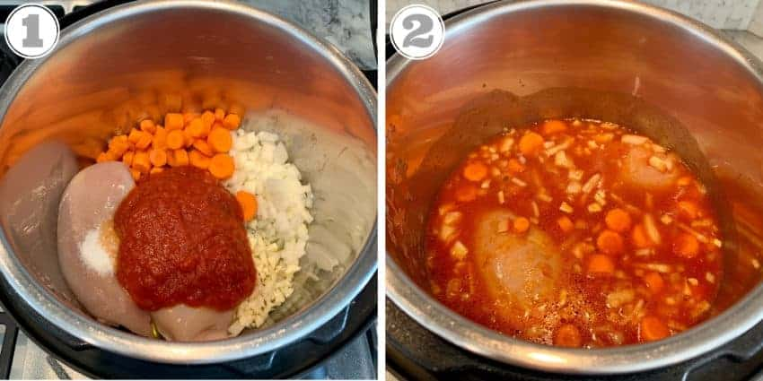 step one and two showing add ingredients to instant pot