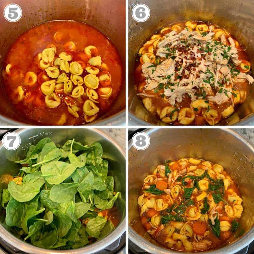 steps five through eight showing adding tortellini, shredded chicken and spinach to instant pot