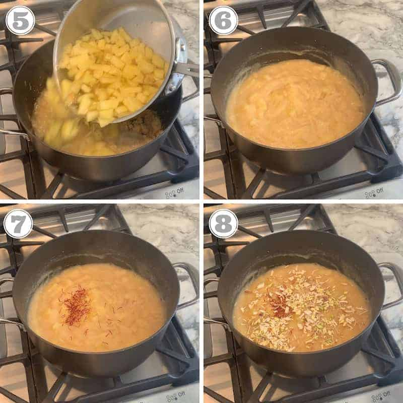 photos showing pineapple syrup being poured into roasted flours and garnished with saffron and nuts