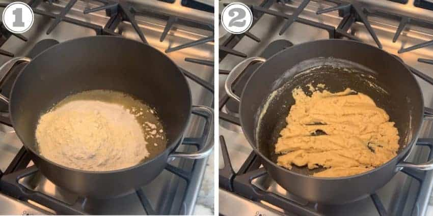 photos showing roasting the flours on the stove top