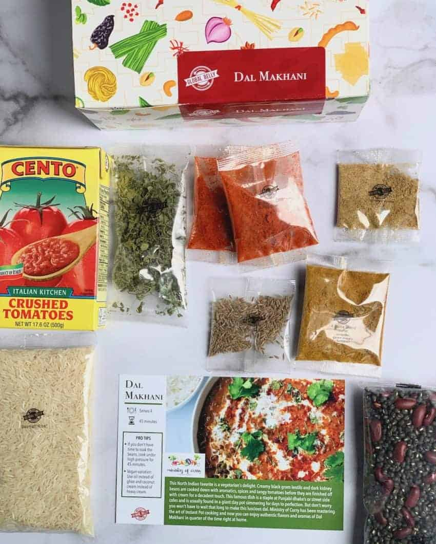 Daal makhani pantry kit with all the spices and ingredients laid in front