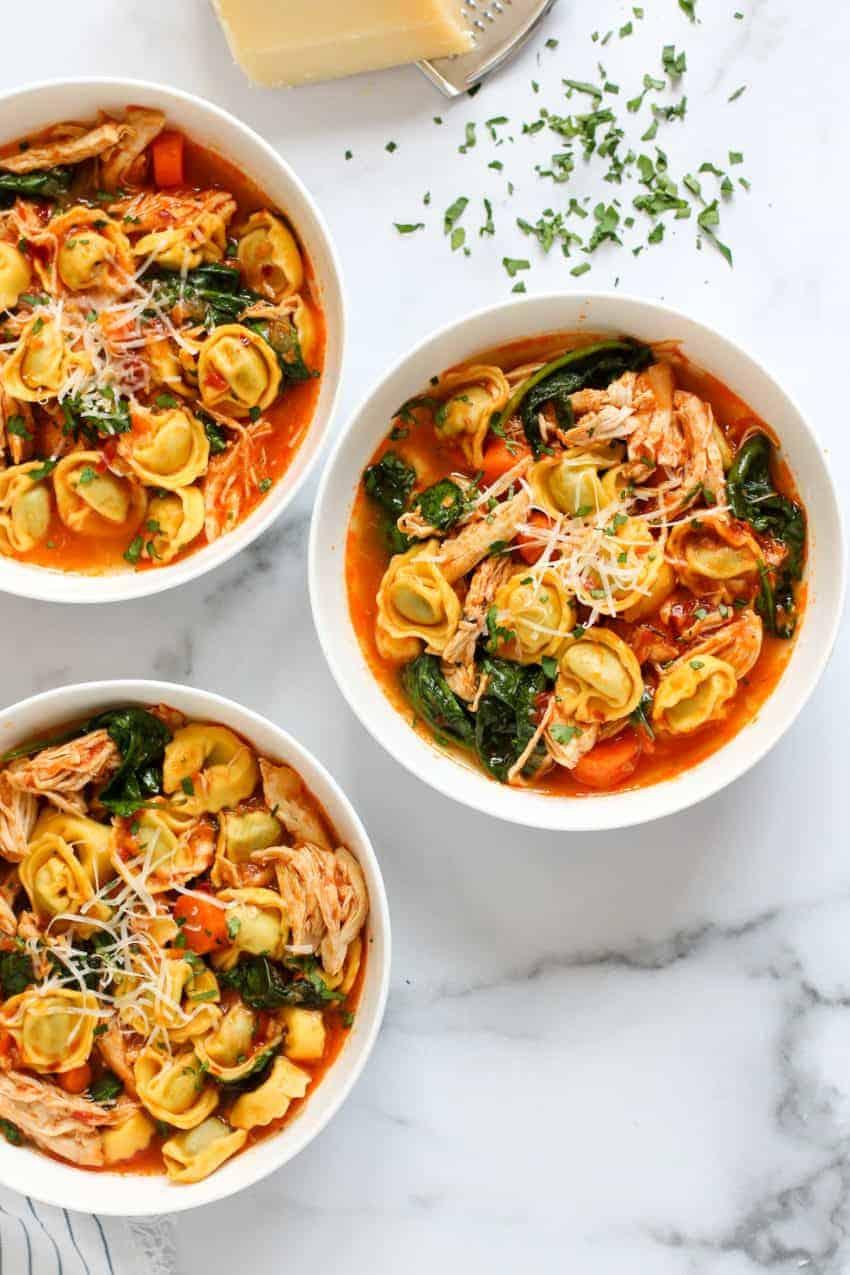 three bowls of chicken tortellini soup